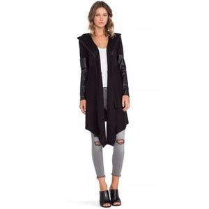 Blank NYC Faux Leather Hooded Open Front Cardigan